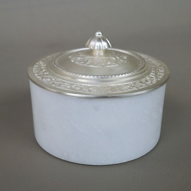 Round Marble Box with Silver Plated Metal Lid