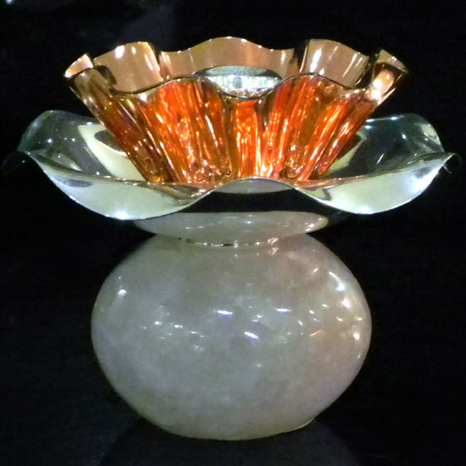 Silver Plated & Copper Rose Quarts Candle Stand