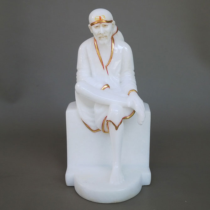 White Marble Sai Baba with Pure Gold work