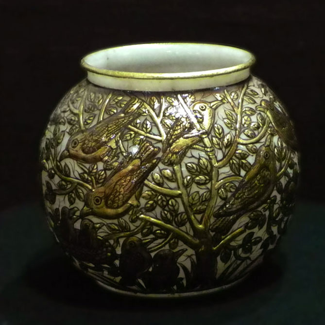Gold Birds Pot